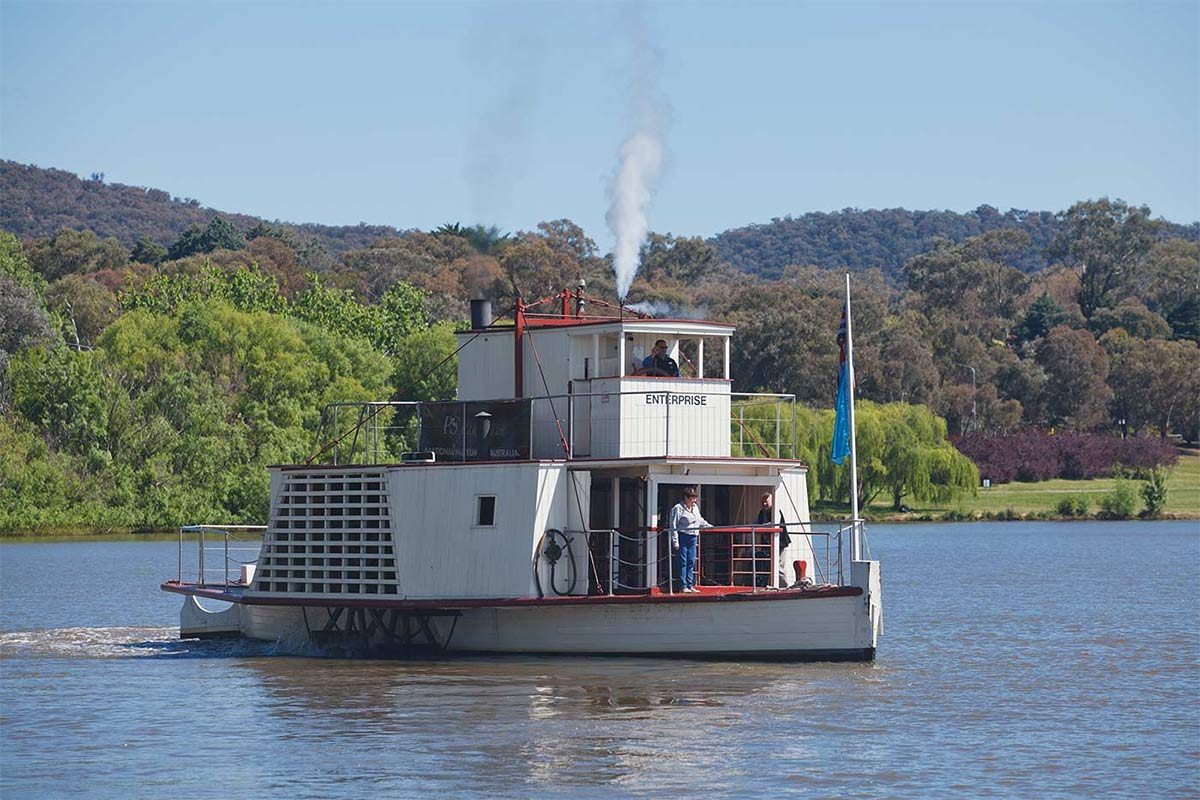 Paddle steamer boat on the lake