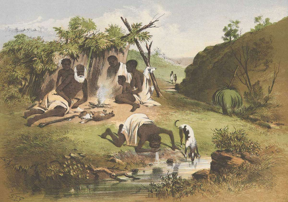 A colour sketch of six Aboriginal people and two dogs camped by a small waterway. A man and a dog drink from the water in the foreground while three adults, two children and a dog sit by a small fire. - click to view larger image