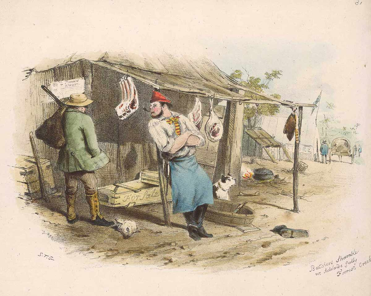 A colour illustration of a butcher leaning on a post outside a slab hut. Cuts of meat hang from the hut's verandah roof. A dog sits at the door and a man carrying a sack over his shoulder stands looking at a cut of meat. - click to view larger image