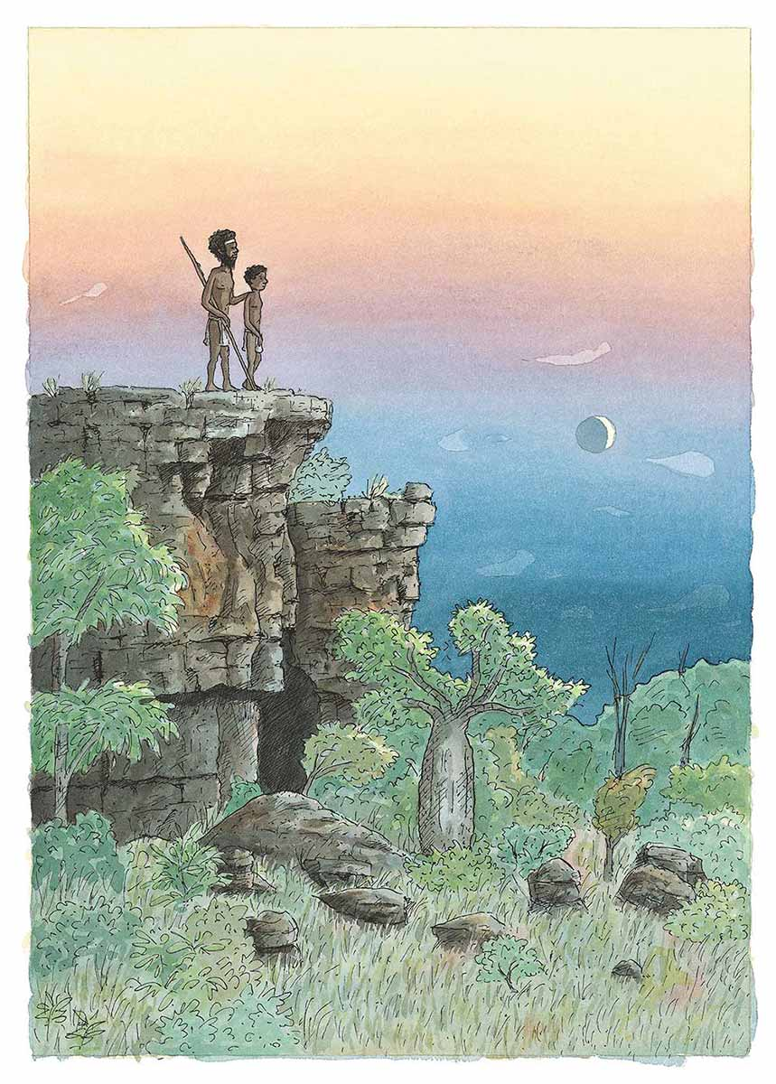 Colour illustration showing a young Aboriginal boy standing on a cliff, with an Aboriginal man standing beside him. - click to view larger image