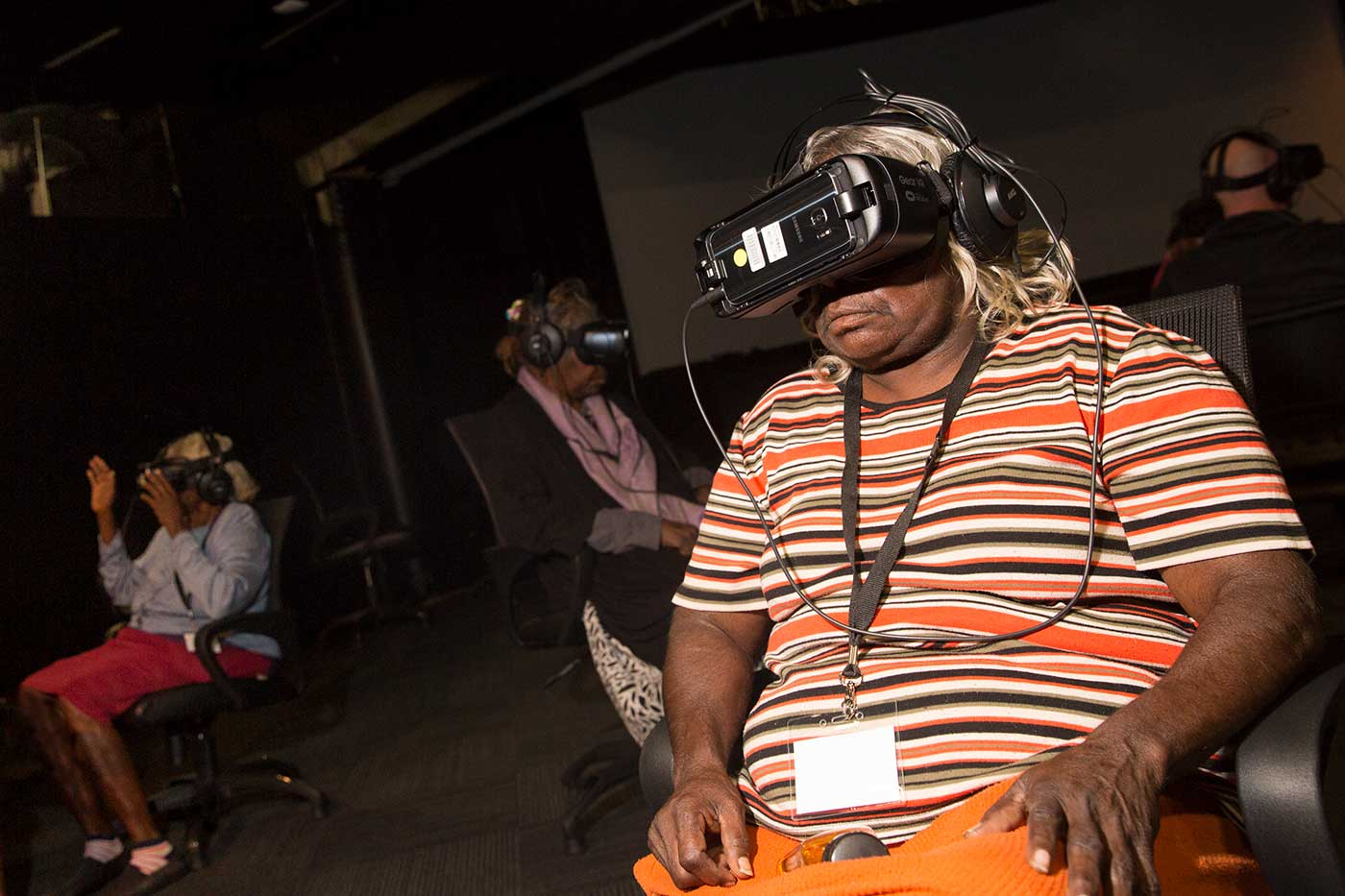 People wearing virtual reality headsets - click to view larger image