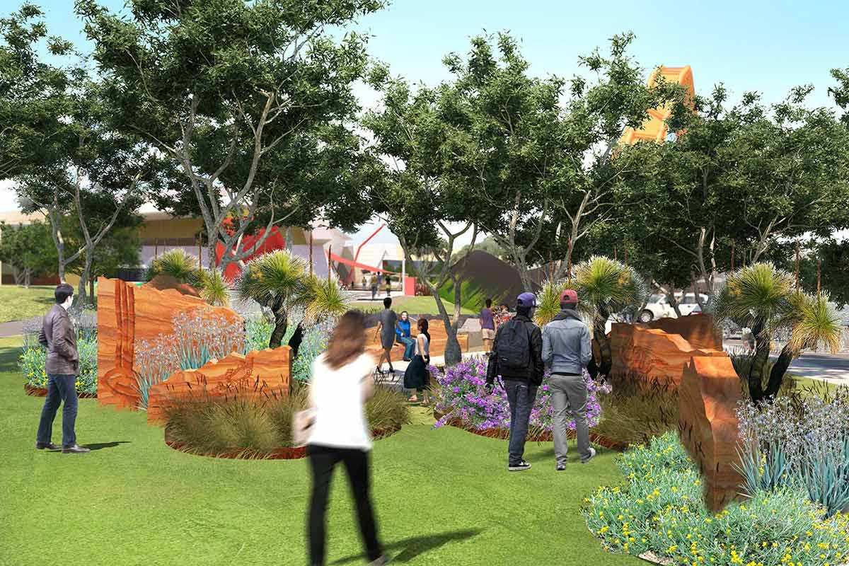 An artist's impression of a landscaped area with buildings.