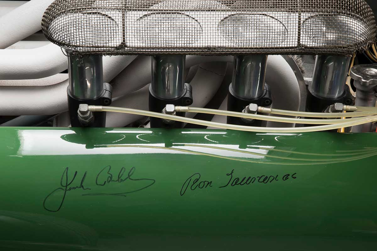 Engine detail with two signatures on side panel. - click to view larger image