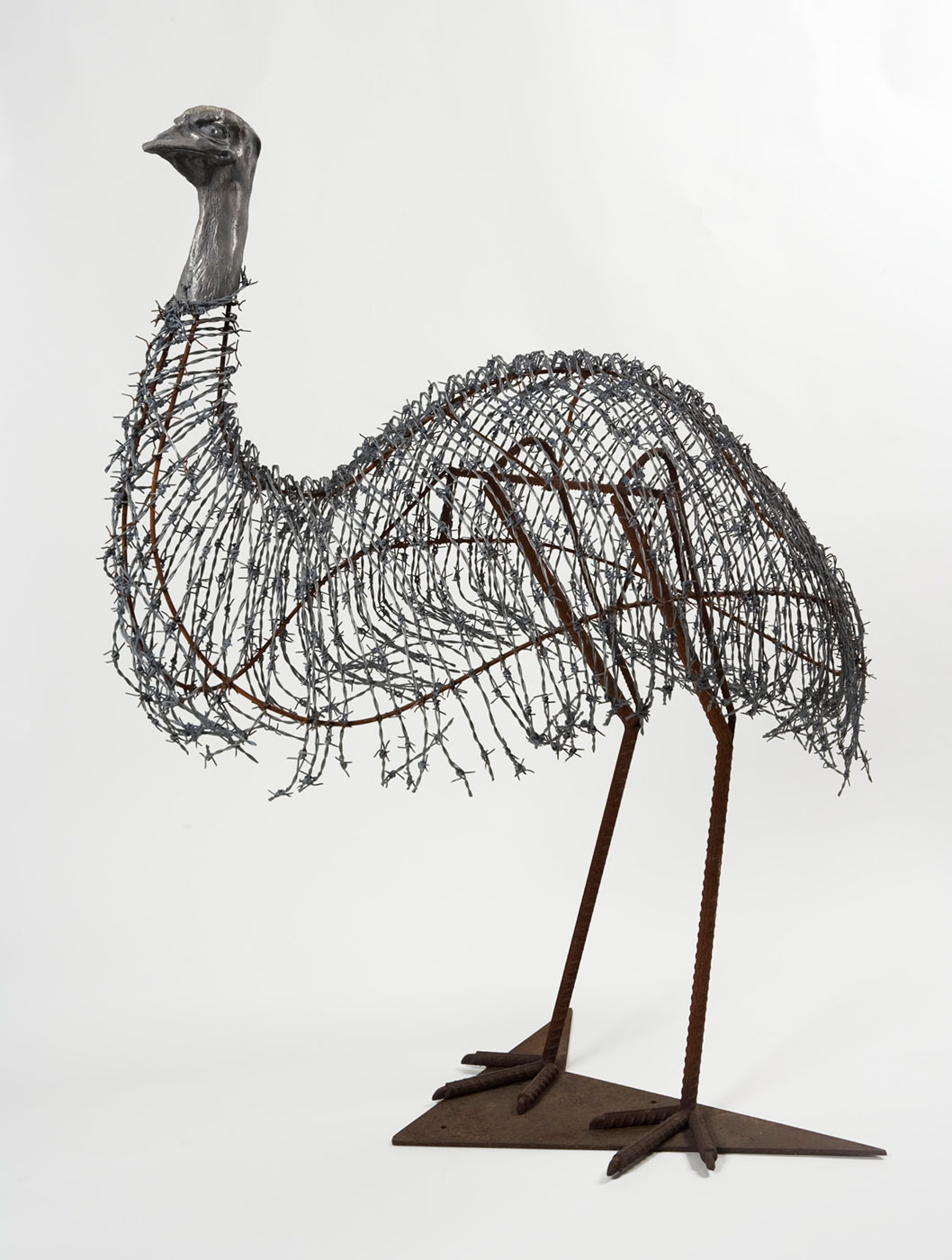 A sculpture in the shape of an emu made with barbed wire, aluminium and steel. - click to view larger image