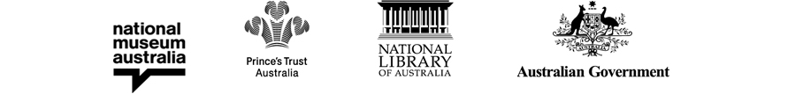 A logo block containing four logos - National Museum of Australia, Prince's Trust Australia, National LIbrary of Australia, Australian Government