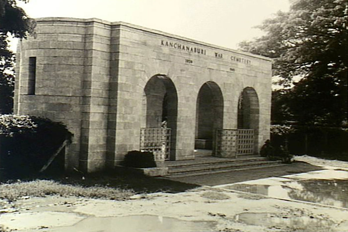 Entrance to the Kanchanaburi War Cemetery, the burial place of many Australian prisoners-of-war (POWs) and POWs of other nationalities who died while working on the Thailand-Burma Railway. Thailand, 1973. - click to view larger image