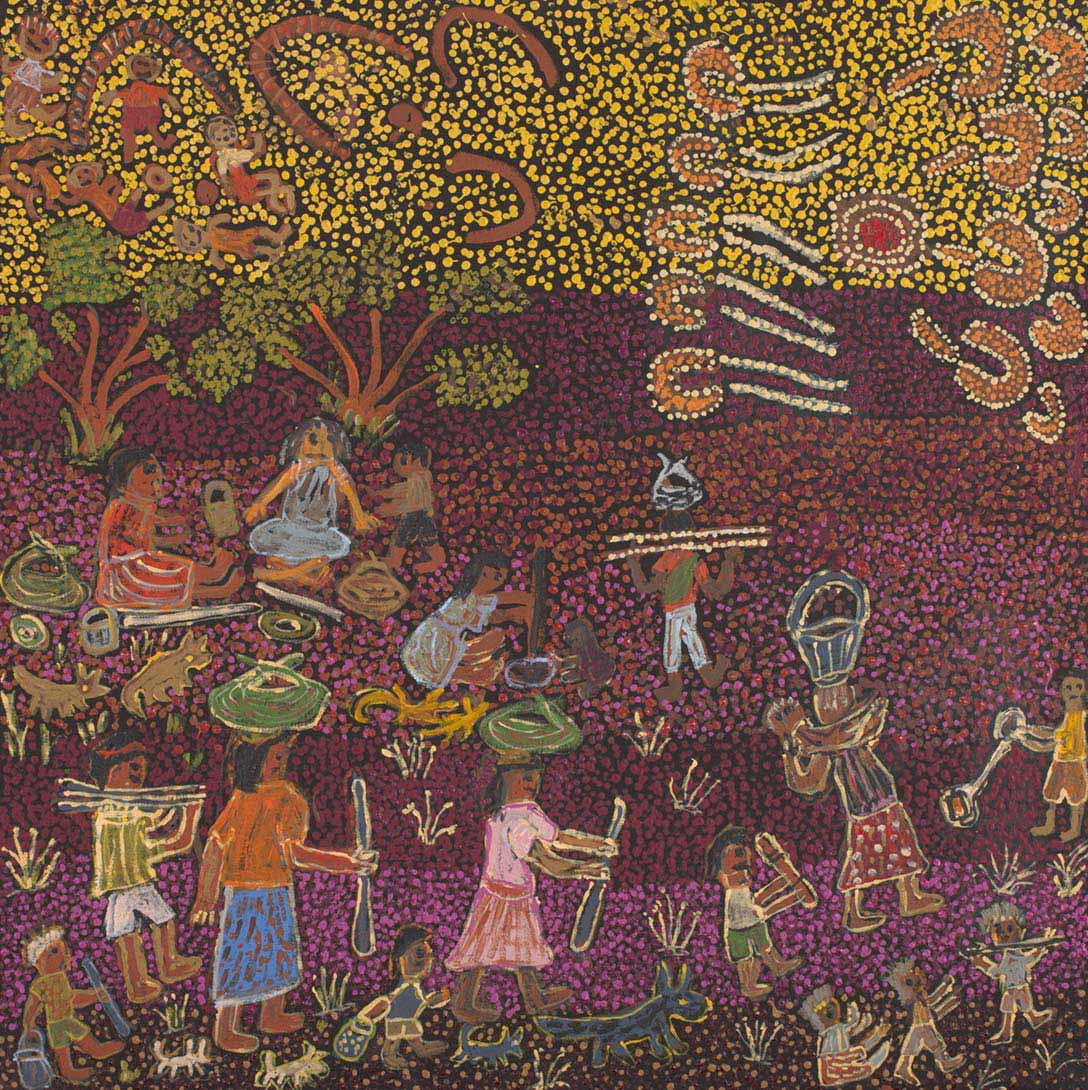 An acrylic painting on canvas showing people and animals, against a predominantly purple dot infill background. Some of the people carry baskets on their heads - click to view larger image