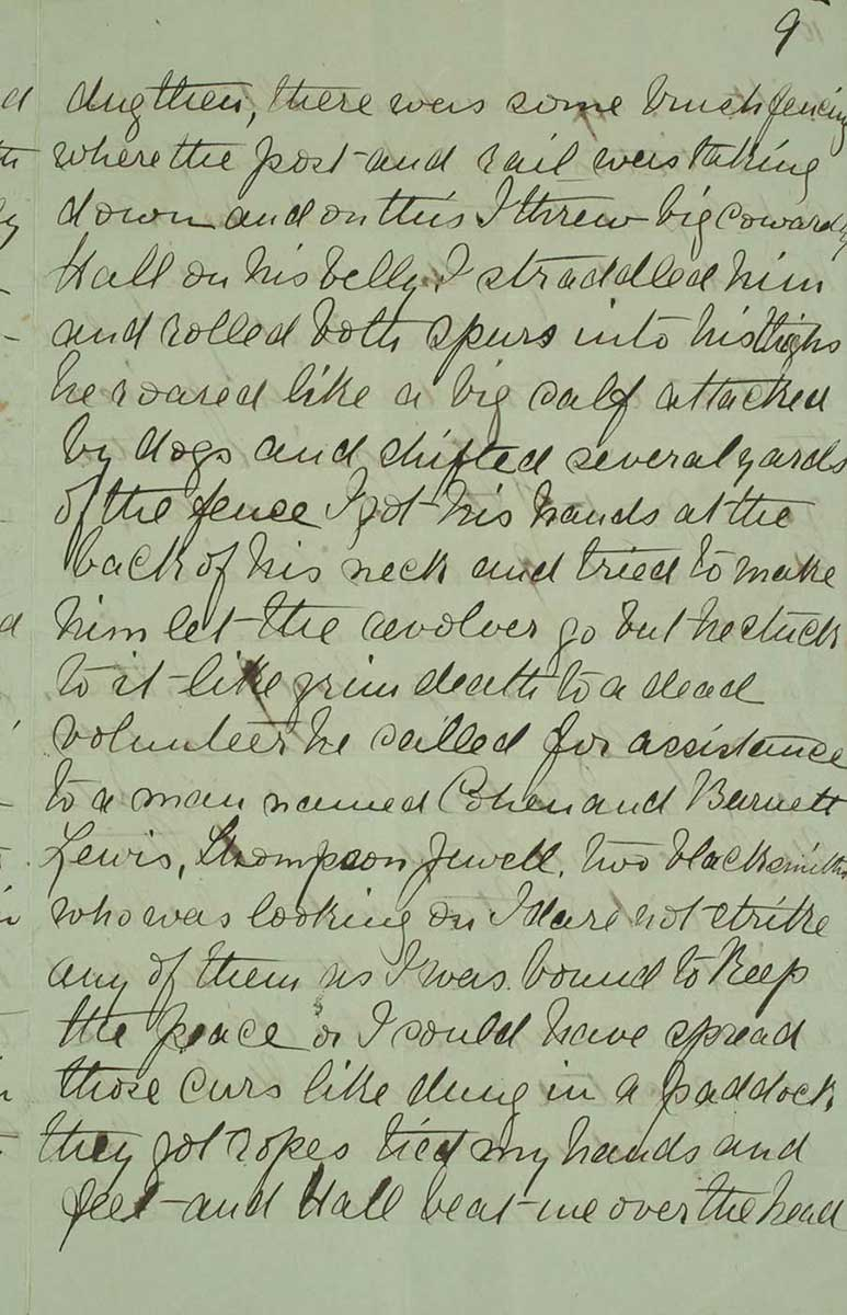 Page nine of Ned Kelly's Jerilderie letter. - click to view larger image