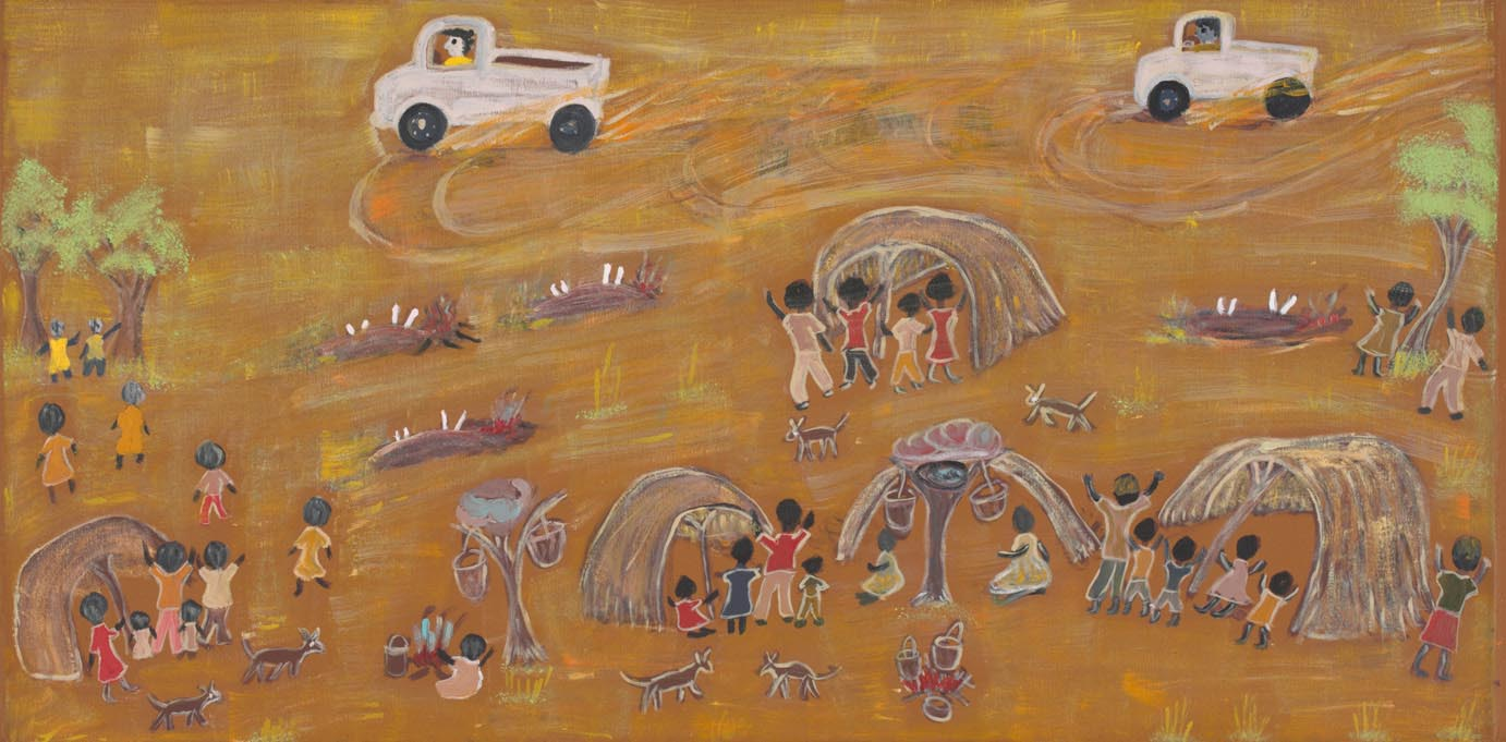 A painting with a rust brown background depicitng two white trucks with circular tyre marks below them . In the foreground groups of children gathered near shelters look towards the trucks with their arms raised. - click to view larger image