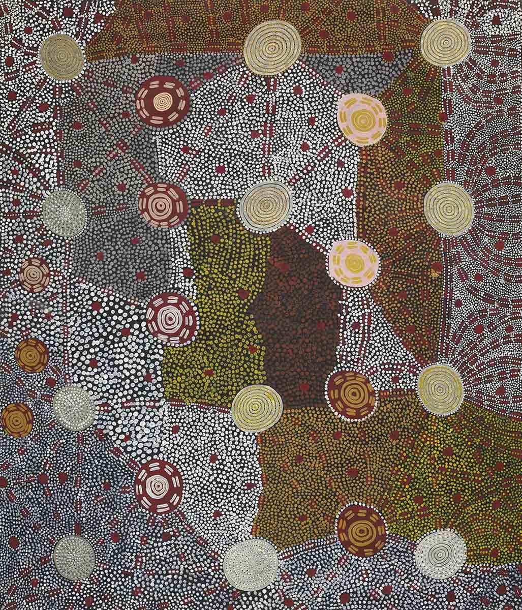 Watunuma (Warturnuma) (Flying Ant Dreaming) 1976 by Kaapa Tjampitjinpa. - click to view larger image