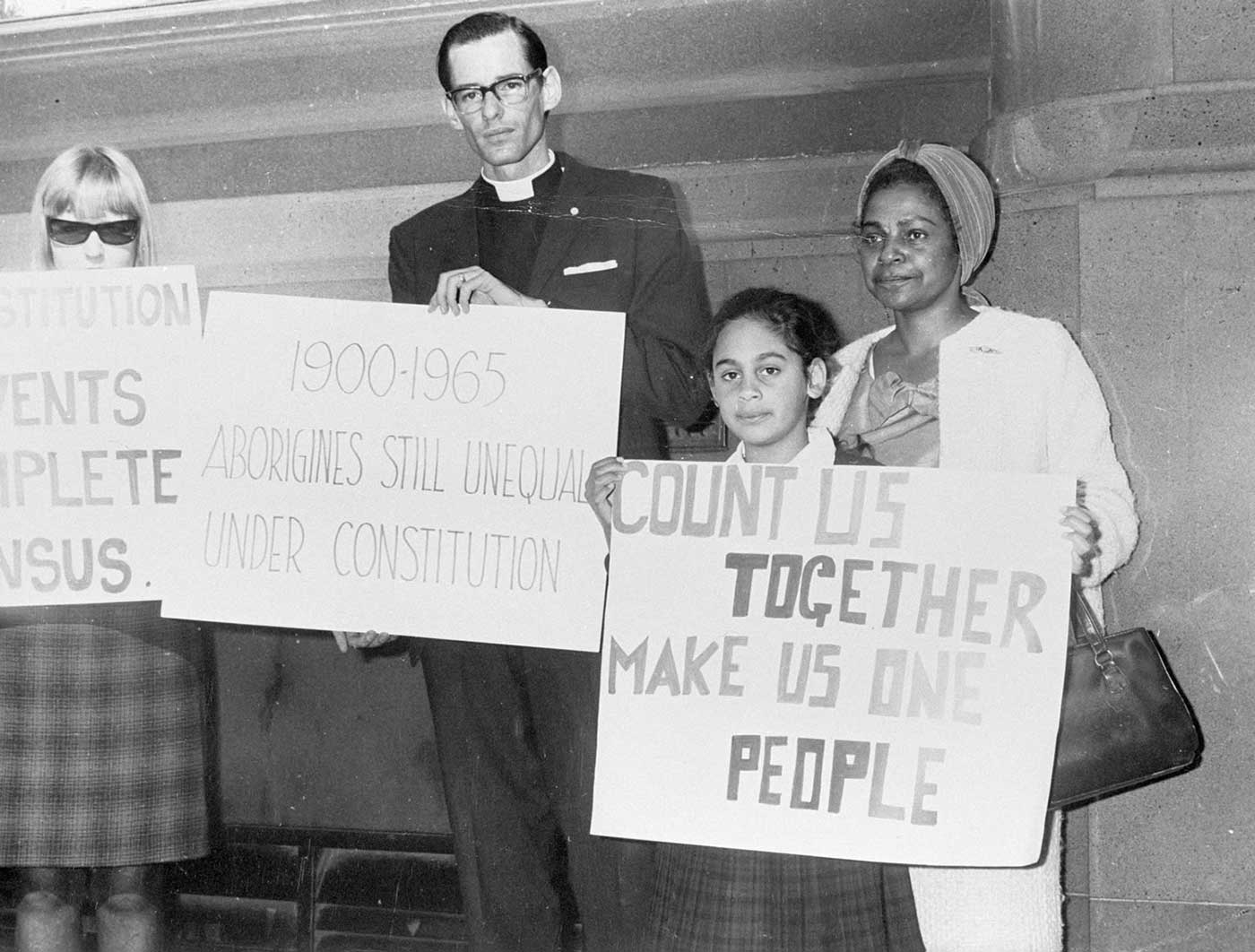 Public figures, such as Faith Bandler, religious leaders, and children featured in the campaign for a YES vote on the Aboriginal question.