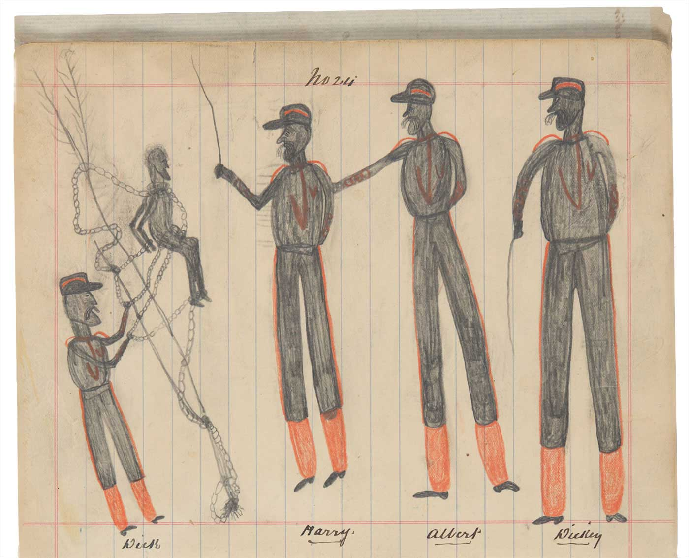 Sketchbook drawing of four men in uniform with an Indigenous man tied to a tree in chains - click to view larger image