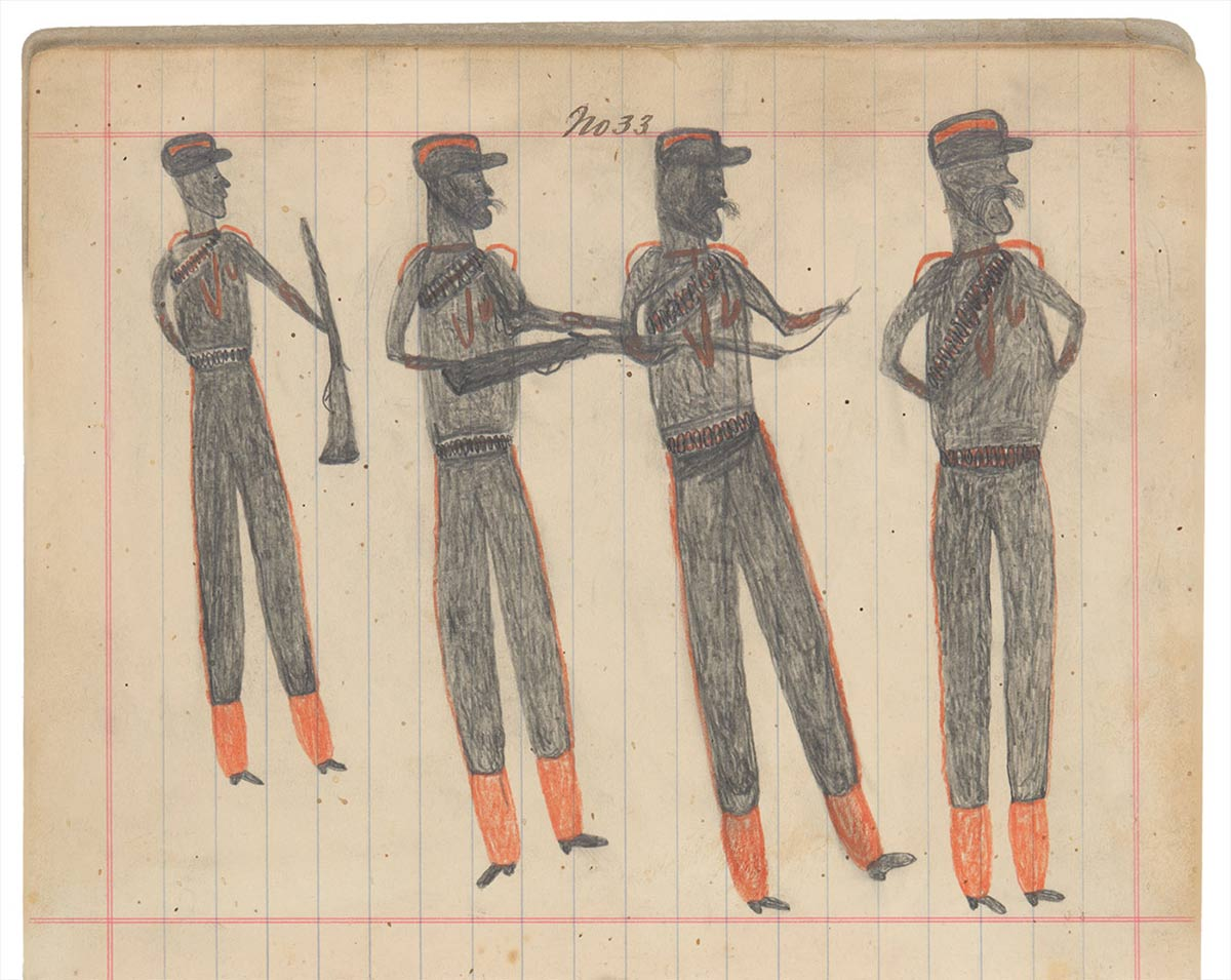 Sketchbook drawing of four men in uniform with two rifles - click to view larger image
