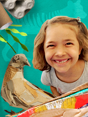 a graphic featuring a smiling child who is the centre of an assortment of paper craft around her.