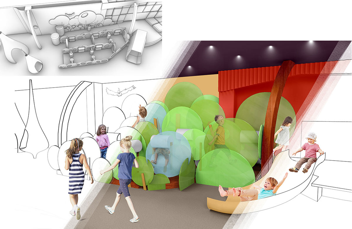 An artist's impression of children in an immersive play space. - click to view larger image