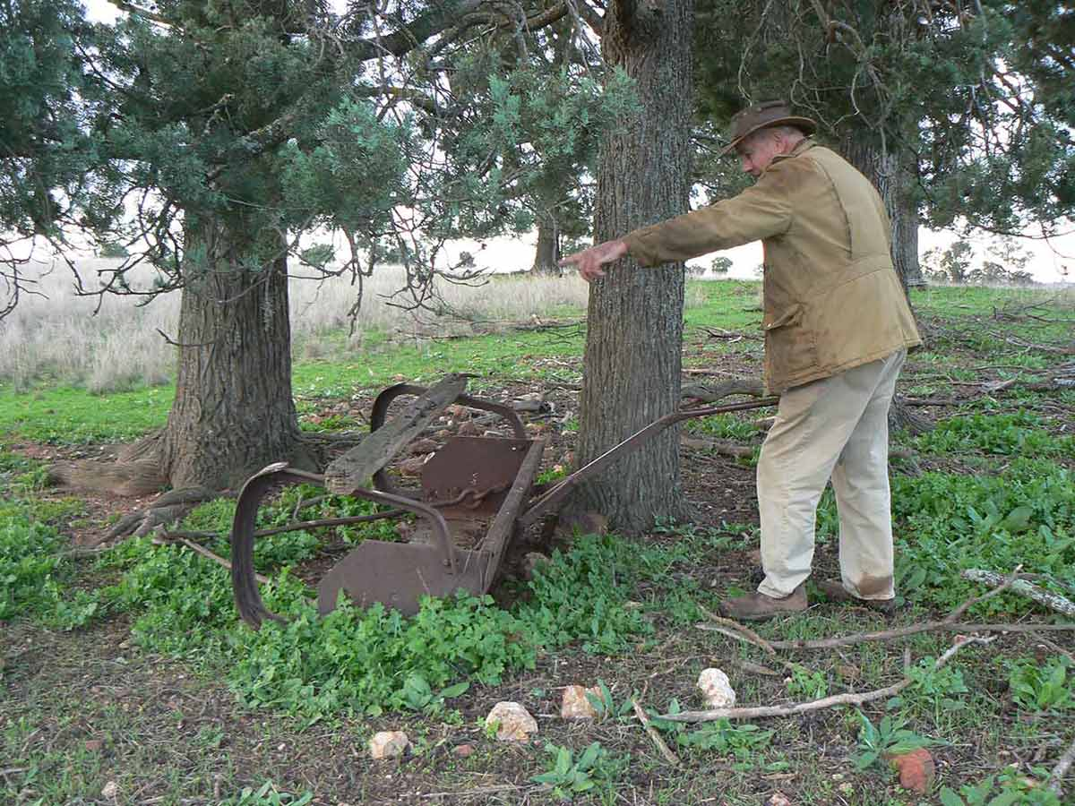 A man standing on farmland at the base of a large tree.  He is holding the handle of a piece of rusting farm equipment.