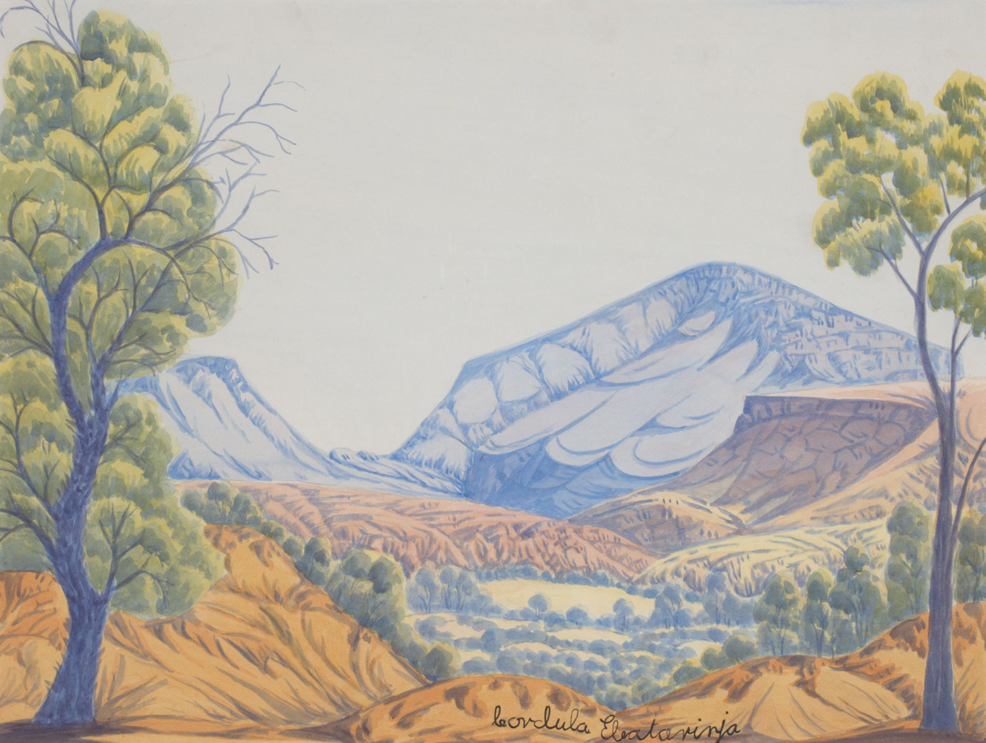 A watercolour painting on board of a landscape featuring two blue trees with green and yellow leaves with two blue mountains in the background.