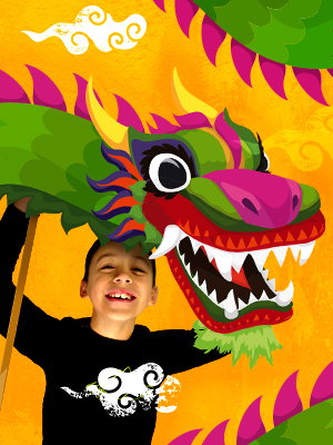 A colourful graphic features a child who appears to be holding the top part of a dragon's body upright.