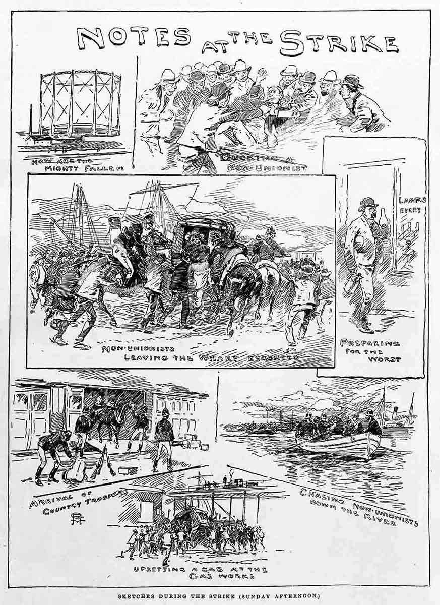 Cartoon of the 1890 Maritime Strike titled 'Notes at the Strike'. - click to view larger image