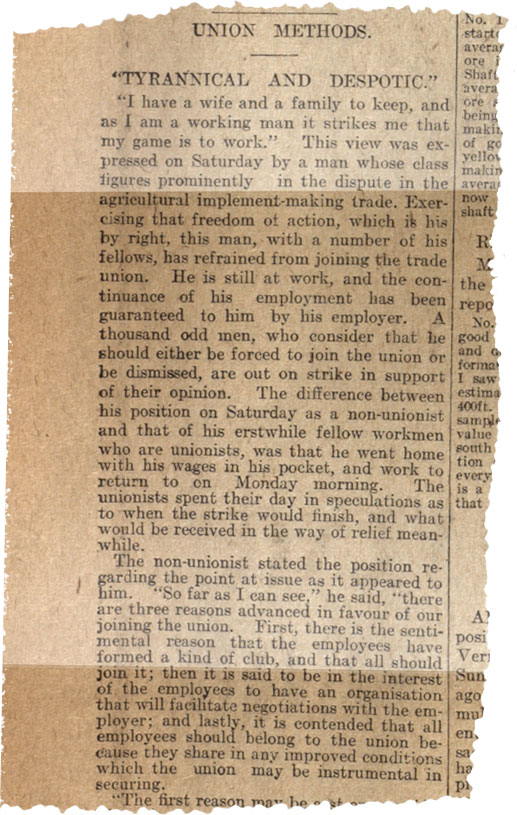 Newspaper titled 'Union Methods Tyrannical and Despotic'.
