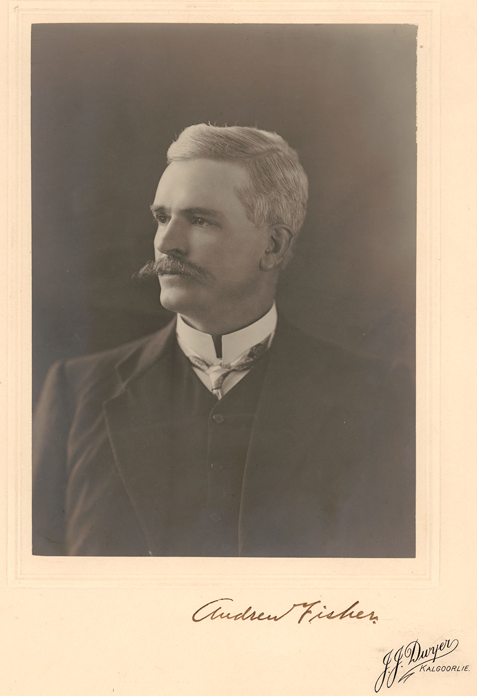 Black and white portrait of Prime Minister Andrew Fisher. - click to view larger image