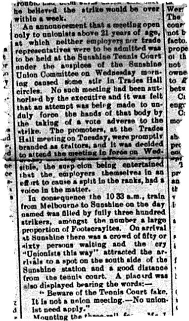 Newspaper clipping reporting on the announcement that a meeting of union members would be held at the Sunshine tennis courts.