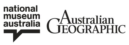 Logo block for the National Museum of Australia, Australian Geographic and supporting partner Coral Expeditions Australia's pioneering cruise line