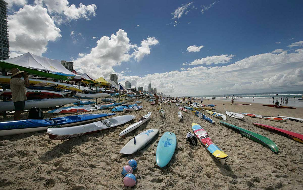 A variety of surf boards and surf skis on the beach at Kurrawa, Queensland, 2006.