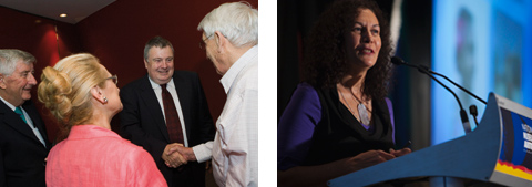 Two colour photographs, side by side. The left side photograph shows a woman and three men. Two of the men are shaking hands, at the right side of the photograph. The right side photograph shows a woman standing at a lectern.