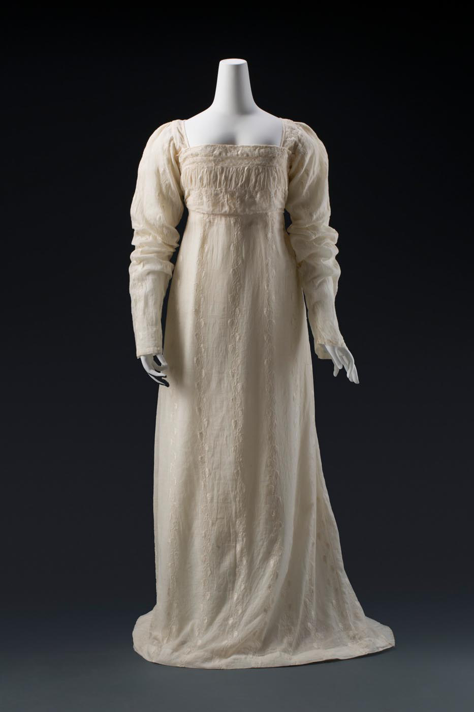 Front view of Ann Deane's embroidered muslin dress. - click to view larger image