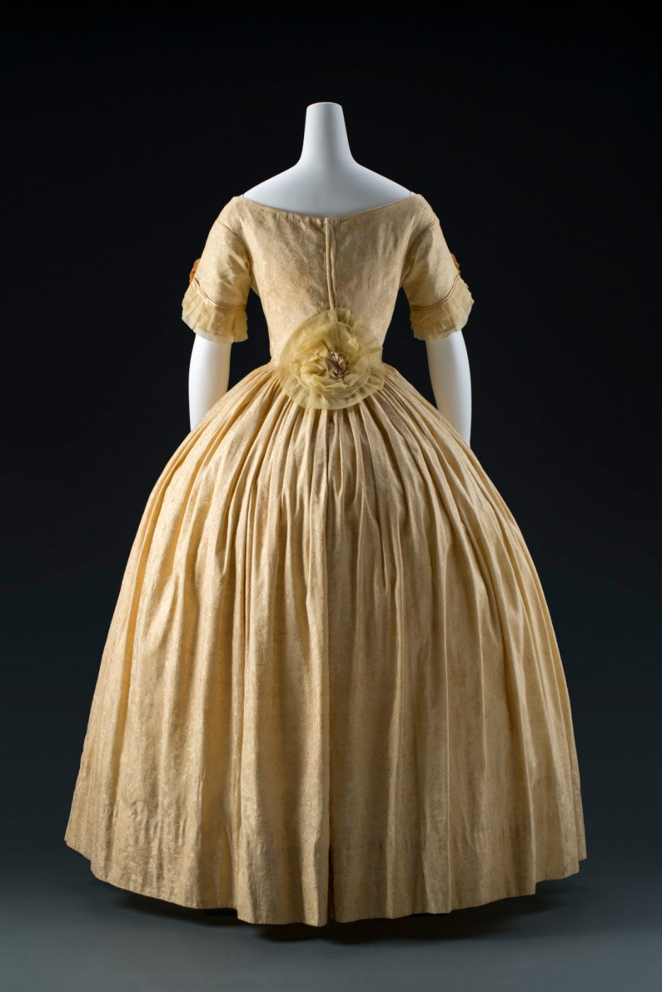 Rear view of a silk damask dress. - click to view larger image