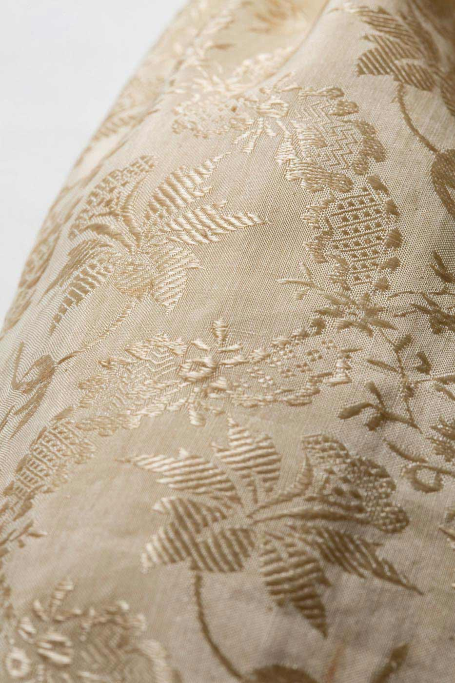 Detail of damask silk fabric. - click to view larger image