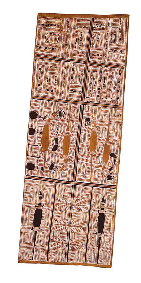 An Australian Indigenous painting on bark. The bark is arranged in portrait format ie the vertical sides are longer than the horizontal sides. The painting consists of eight main sections which are filled with many short traditional white line patterns. There are several animals represented in the painting; they appear to be goannas. The other colours of the painting are mainly earth tones ie ochres and browns. - click to view larger image