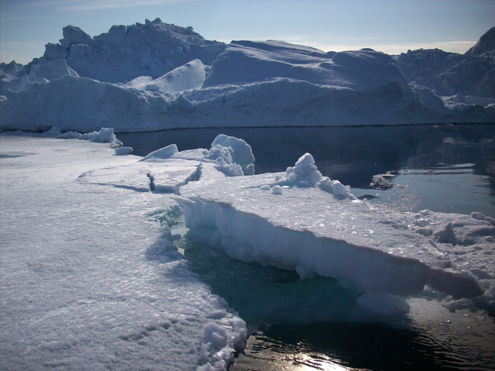 Landscape featuring ice glaciers and water. - click to view larger image