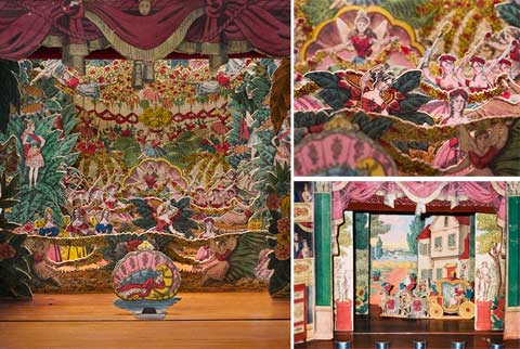 Image of a toy theatre, framed by a curtain at the top, with multiple layers of forested scenery at the rear and a small cut-out of the Sleeping Beauty at the front of a stage. A smaller inset image at the top right shows numerous female characters and garlands of flowers from the first stage set. A smaller inset image bottom right shows a different backdrop, with a residential set, theatre stalls at the sides and a carriage towards the front of stage.
