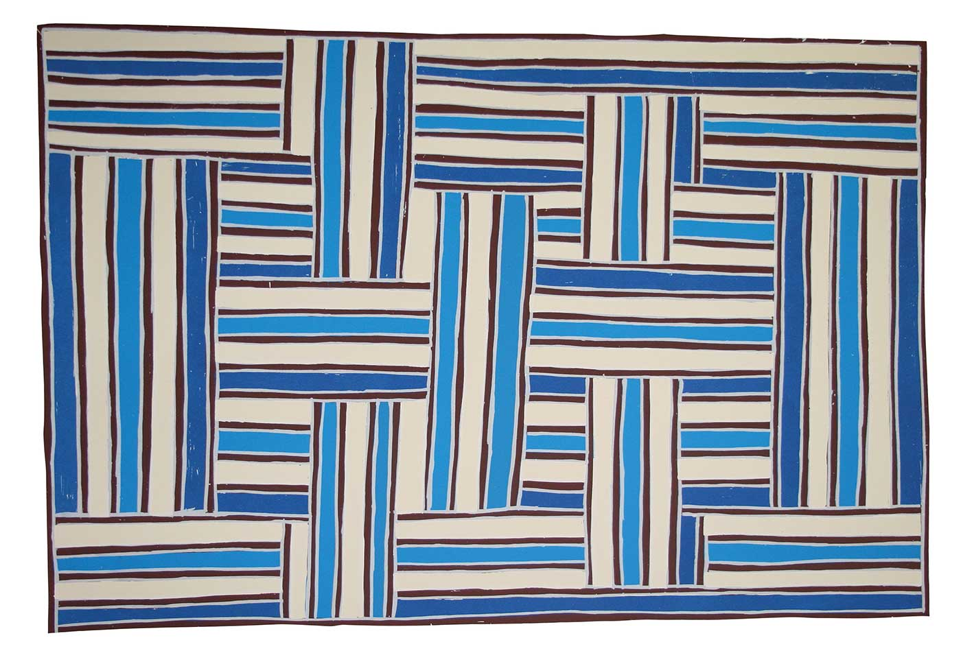 An silkscreen print by an Australian Indigenous aritst. The print features many lines in dark and light blue as well as white. The lines form segments which are placed at right angles to other segments. The print is in landscape format; its horizontal sides are longer than its vertical sides.