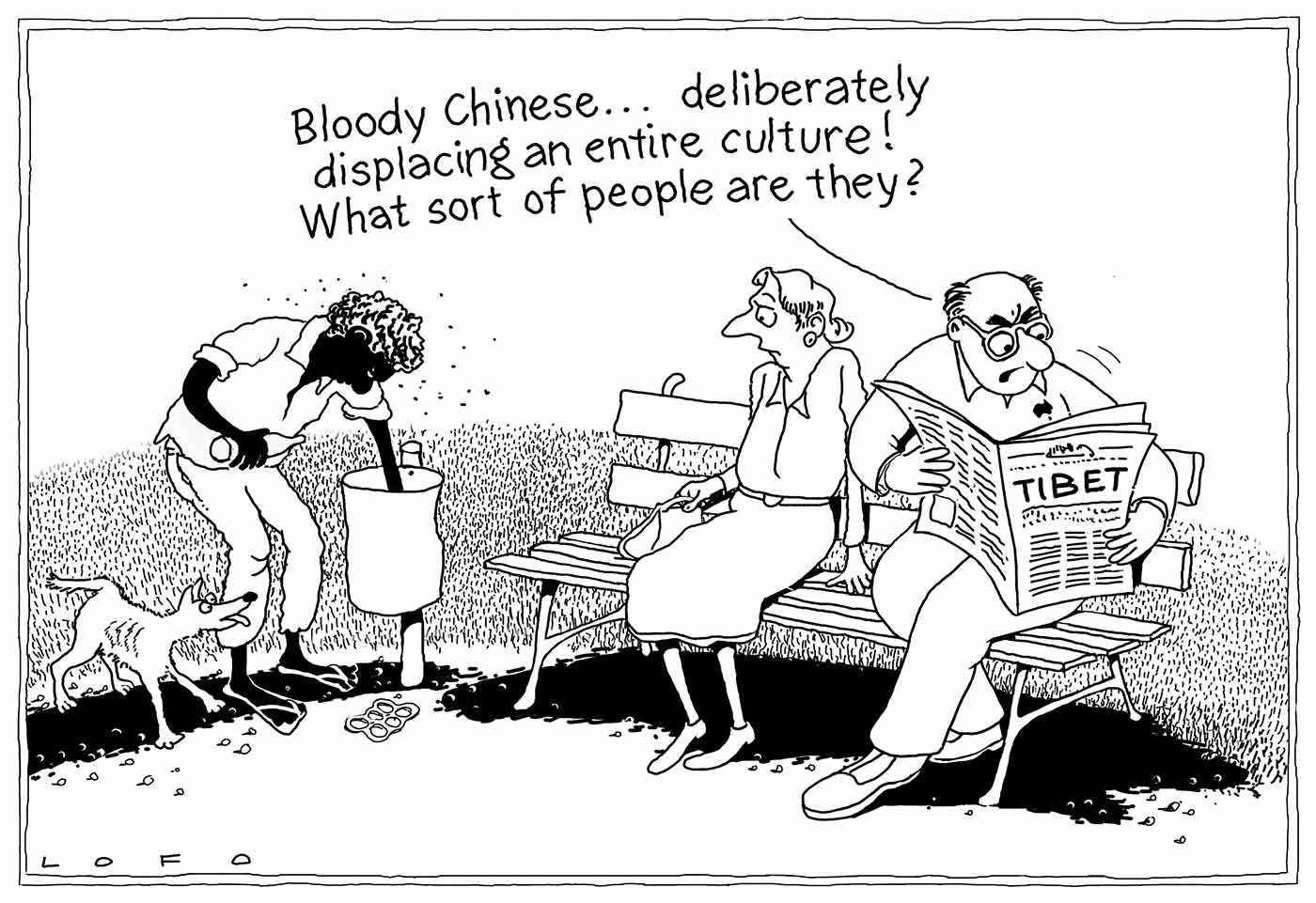 A black and white cartoon depicting an Indigenous man reaching into a rubbish bin and a non-Indigenous woman and man sitting on a park bench. The man sitting on the bench is reading a newspaper which has the word 'Tibet' on the front page and saying 'Bloody Chinese ... deliberately displacing an entire culture! What sort of people are they?' The woman is looking with concern at the Indigenous man who holds a bottle in his right hand, is surrounded by a cloud of flies and has a skinny dog near his right foot. - click to view larger image