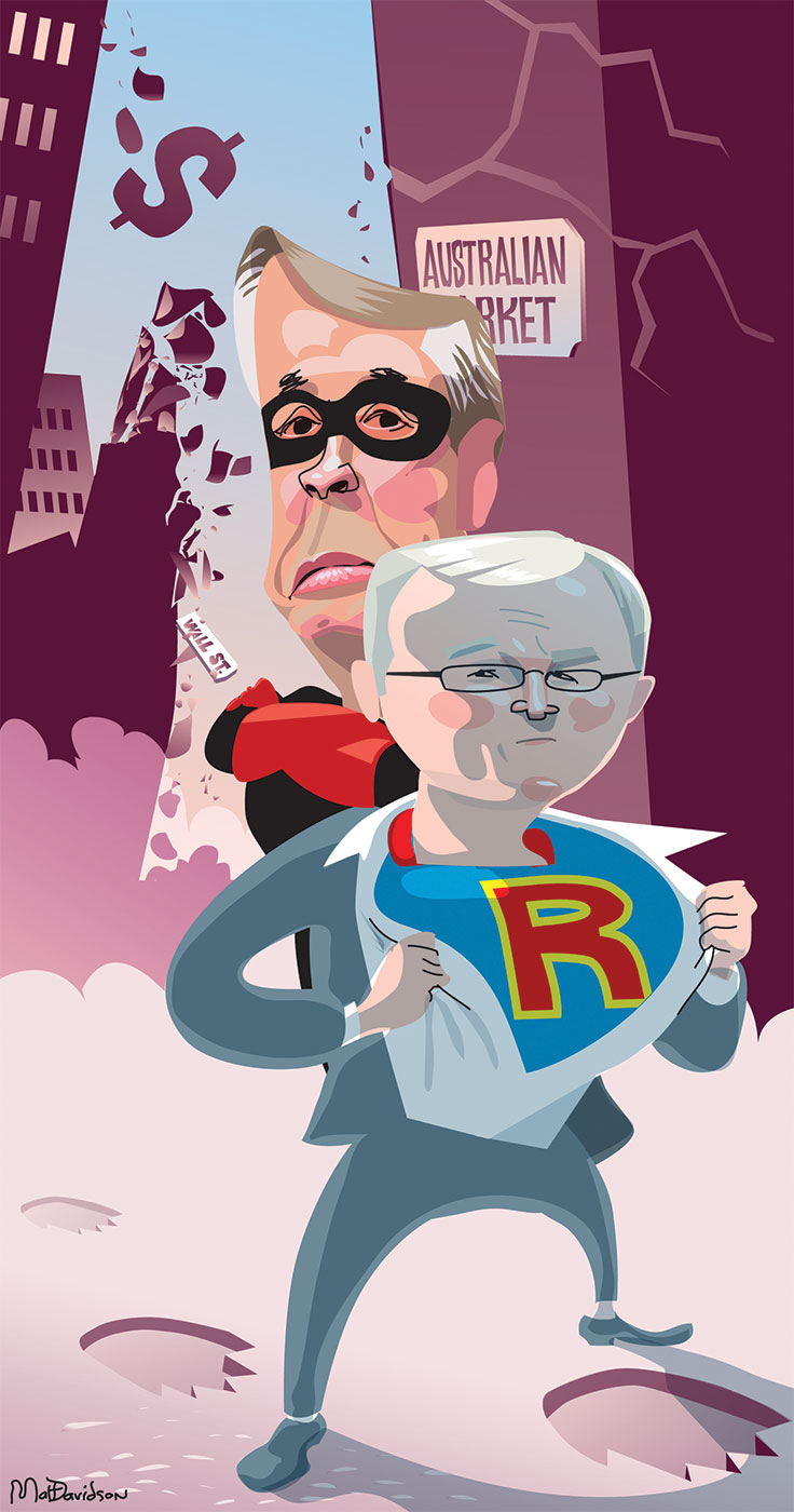 A colour cartoon depicting Kevin Rudd and Wayne Swan as Batman and Robin-style characters. Kevin Rudd stands in front of Wayne Swan, opening his shirt to reveal a blue super hero uniform with a red capital 'R' on the front. Wayne Swan stands behind him in a black and red uniform. He wears a black mask around his eyes. Behind them is a crumbling cityscape. A sign on a cracked wall behind Wayne Swan says 'Australian Market'. In the background a falling sign with 'Wall Street' on it can be seen. Large bear footprints can be seen in the ground underneath Mr Rudd. - click to view larger image