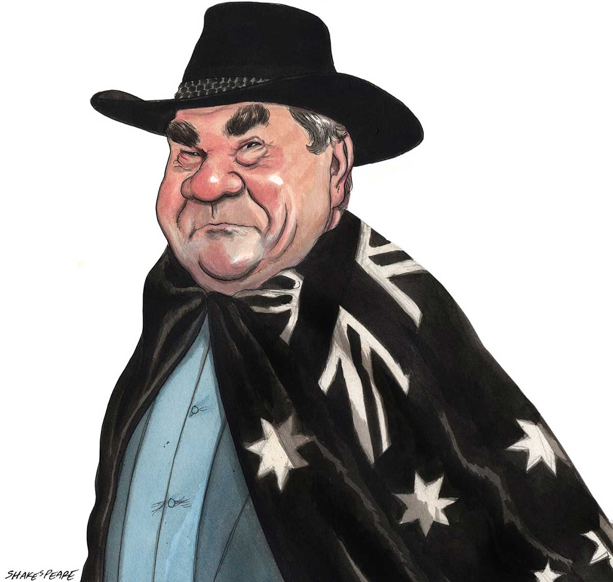 A colour cartoon depicting Mick Dodson wearing an Australian flag as a cape. He faces to the left of the image and wears a black hat. His face is turned toward the viewer. His expression is one of tenacity, determination and good humour. He wears a grey jacket and blue shirt under the flag cape. He has large bushy eyebrows and his face is heavy-set and fleshy. - click to view larger image