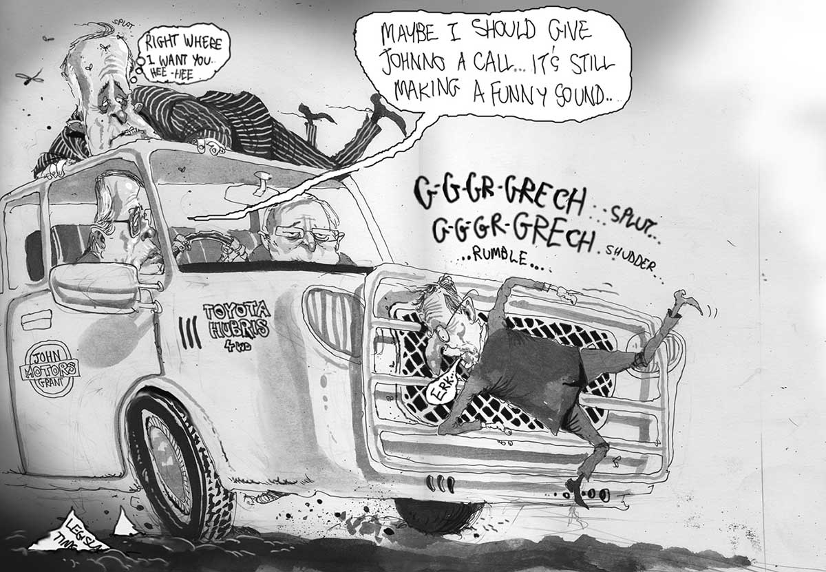 A black and white cartoon depicting Kevin Rudd and Wayne Swan in a ute land cruiser, with Mr Swan driving. Both look anxious and peer out the windshield. Godwin Grech is plastered flat on the front of the bull bar with a tiny speech bubble saying 'Err' dripping out of his lips. Malcolm Turnbull, in a pin-striped suit, clings to the roof of the ute waving his feet in the air and saying 'Right where I want you hee, hee'. Above the ute engine are the words 'G-G-Gr-Grech ... splut ... G-G-Gr-Grech ... shudder ... rumble'. Mr Swan says to Mr Rudd 'Maybe I should give Johnno a call ... it's still making a funny sound'. - click to view larger image