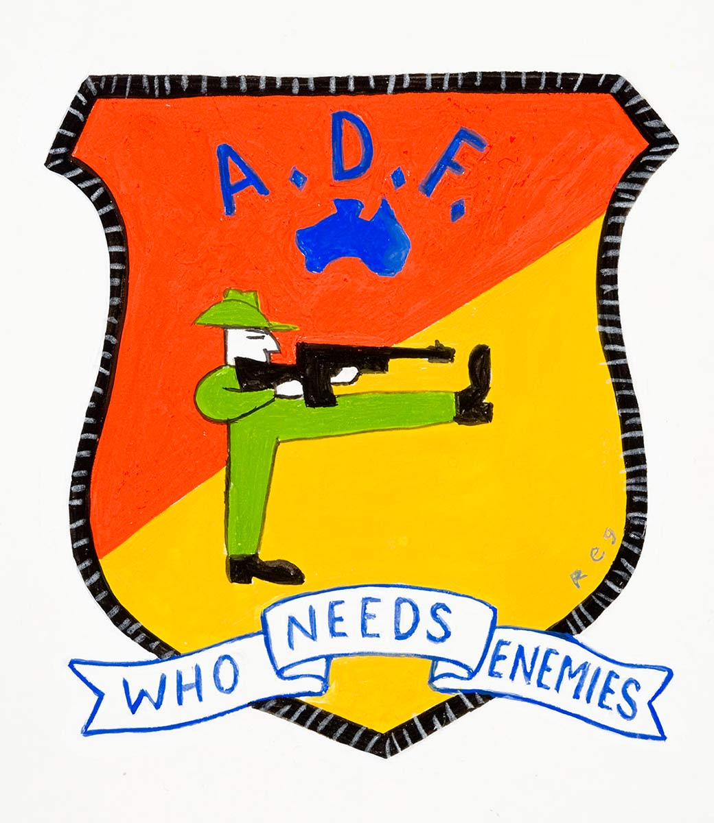 Cartoon of a badge displaying the words A.D.F wth a figure of an army officer with one leg up aiming a gun at his foot with the tag, 'Who needs enemies' - click to view larger image