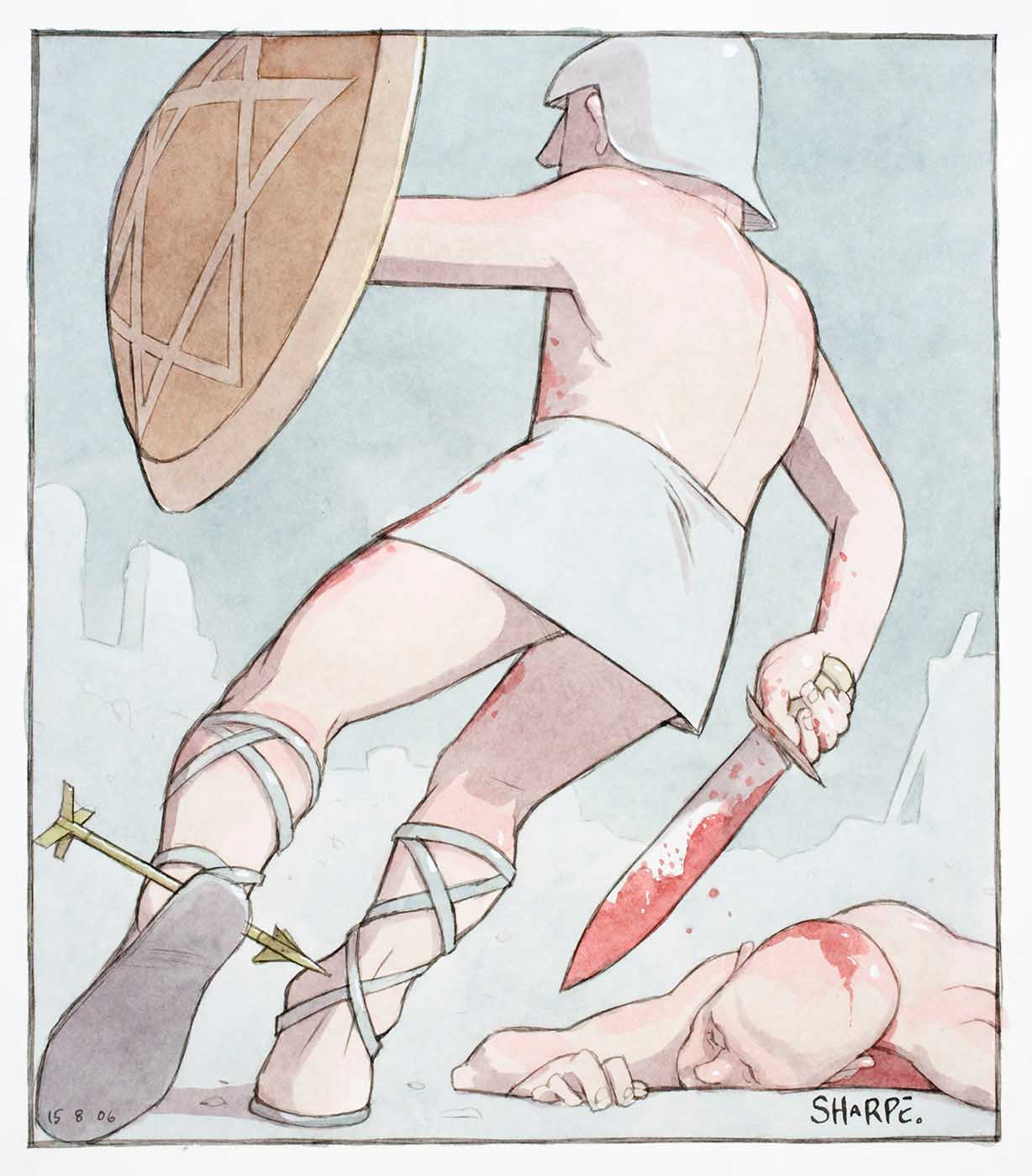 Cartoon of two gladiators, one fallen, the victor (a star of David on his shield) with an arrow through his achilles heel - click to view larger image