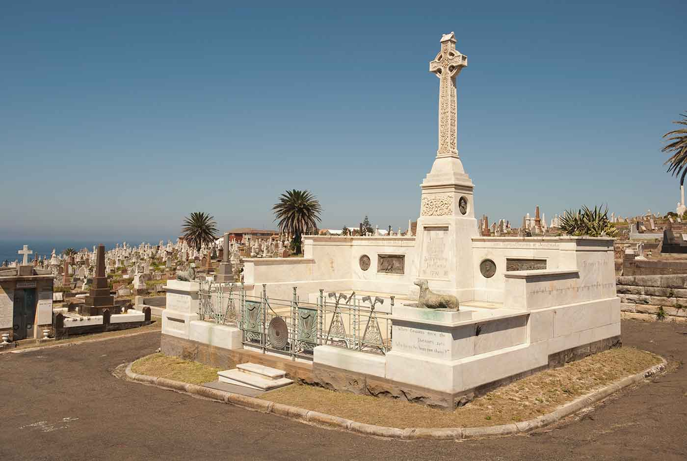 View of a cemetery overlooking the sea. - click to view larger image