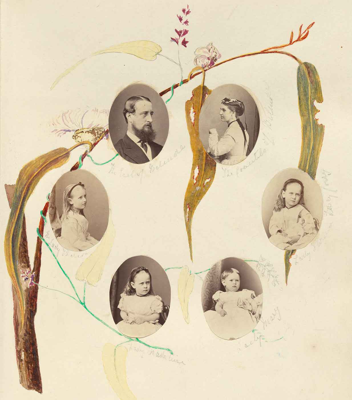 Family tree featuring photos of six family members and native plant illustrations.