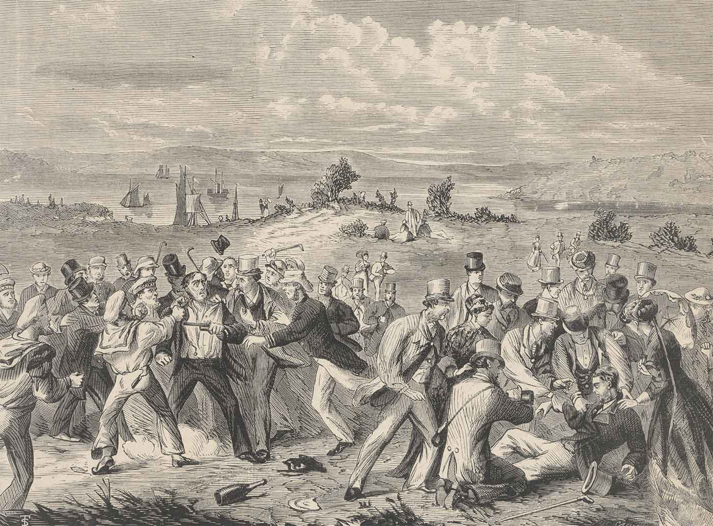 Sketch or print of a large group of men wearing 19th Century attire in a physical brawl with a landscape in the background. - click to view larger image