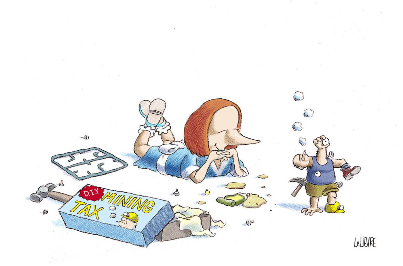 A colour cartoon depicting Julia Gillard as a young girl. She is lying on the ground, on her stomach, in a blue dress. To the left of her is scattered the contents of a model kit. The open box lies nearby; it says 'D.I.Y. Mining Tax' on the lid. A hammer and an open tube of glue lie near. To the right of Gillard is the model, which is supposed to represent a miner, in a blue singlet and khaki shorts. The miner has been assembled in an ad hoc manner. An arm sticks up where the neck should be; the head protrudes from the right arm socket; a leg protrudes from the left arm socket; an arm protrudes from the right leg of the shorts; an eyeball is stuck to the front of the singlet; the arm sticking up where the head should be holds an eyeball in its hand. Gillard looks at her creation with an expression of satisfaction.  - click to view larger image