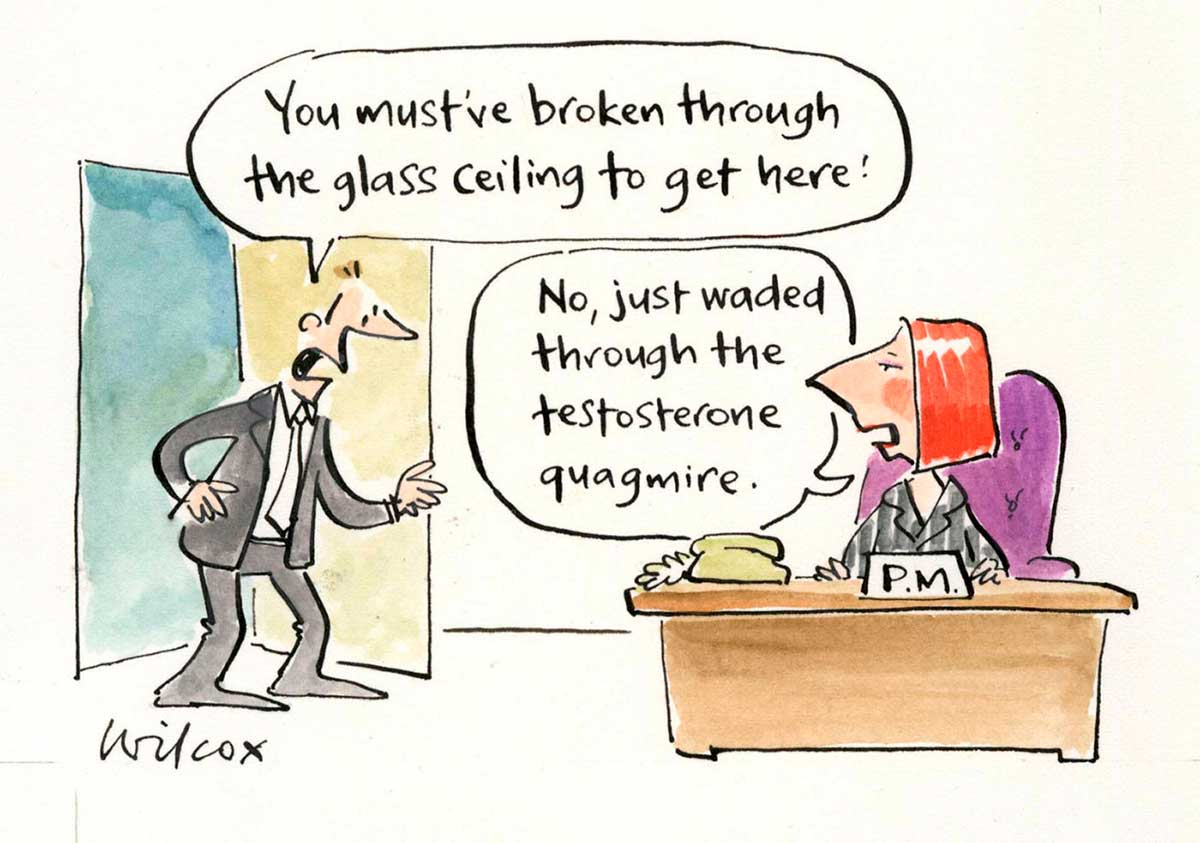 A colour cartoon depicting Julia Gillard sitting at a desk. On the desk is a sign that says 'P.M.' She is sitting in a large purple chair. At the left of the cartoon, a man has walked in through a door. He wears a suit, and is saying to Gillard 'You must've broken through the glass ceiling to get here!' She is responding with 'No, just waded through the testosterone quagmire'.  - click to view larger image