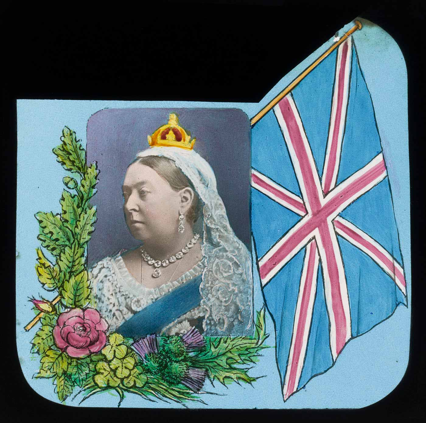 Slide of a woman wearing regal clothing, layered over an image of flowers and fauna and the British flag. - click to view larger image