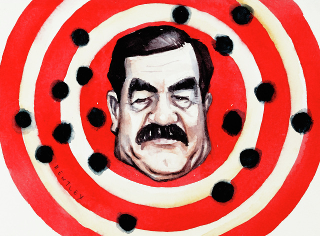 A cartoon depicting Saddam Hussein's face on a bulls-eye, with bullet holes all around.  - click to view larger image