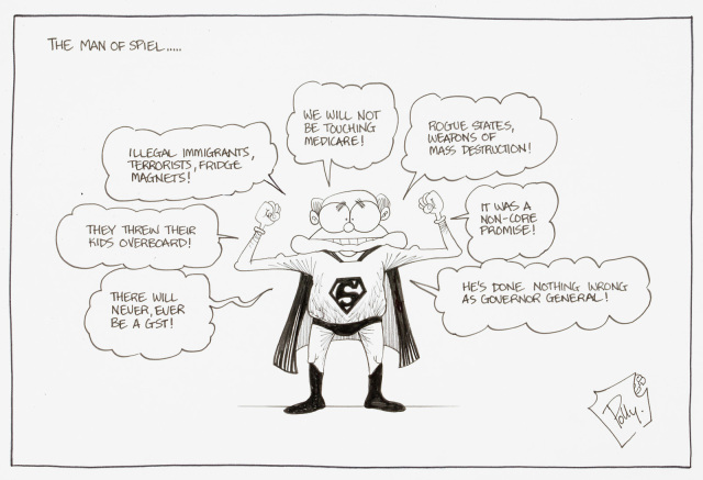 A cartoon titled 'The man of spiel'. It depicts John Howard dress as superman, surrounded by misleading or false statements that he has made. - click to view larger image